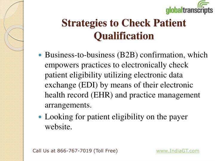 Strategies to Check Patient Qualification