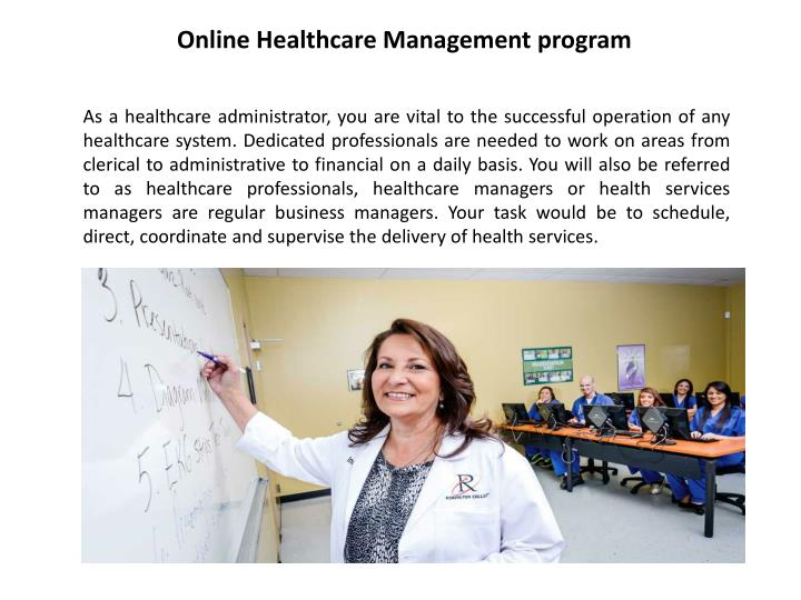 Online Healthcare Management program