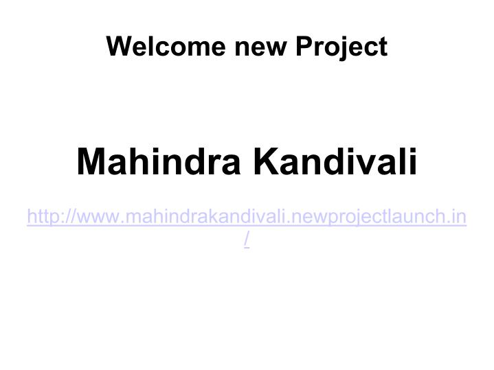 Welcome new Project