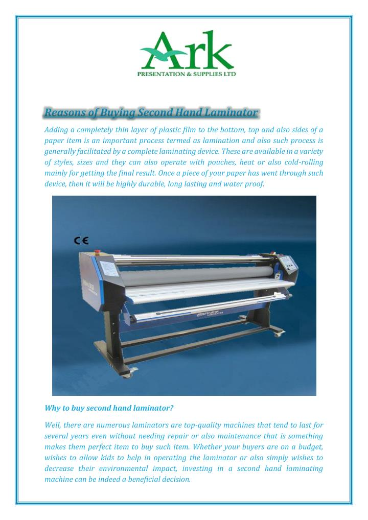 Reasons of Buying Second Hand Laminator