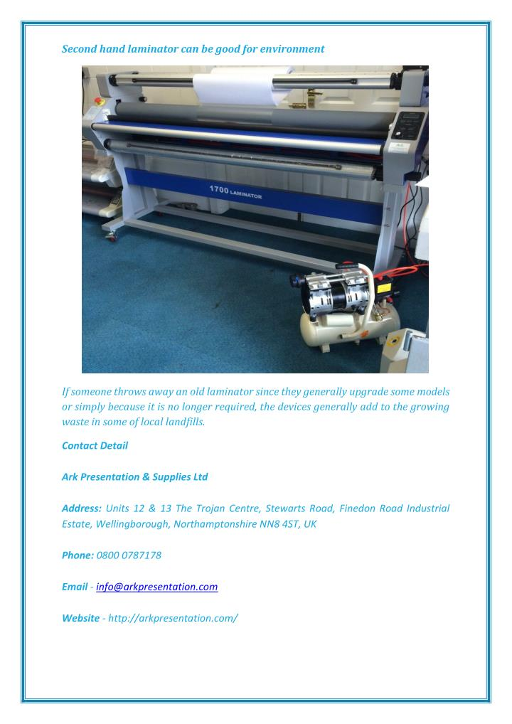 Second hand laminator can be good for environment
