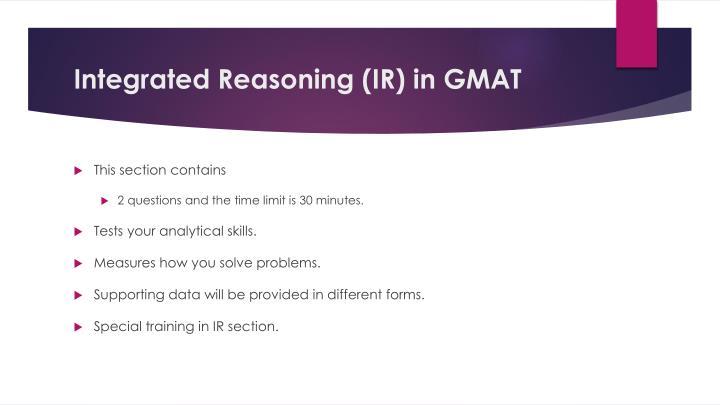 Integrated reasoning ir in gmat