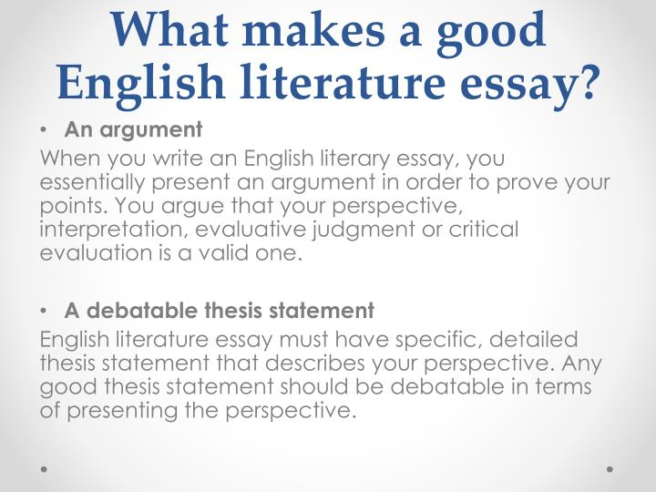 What makes a good English literature essay