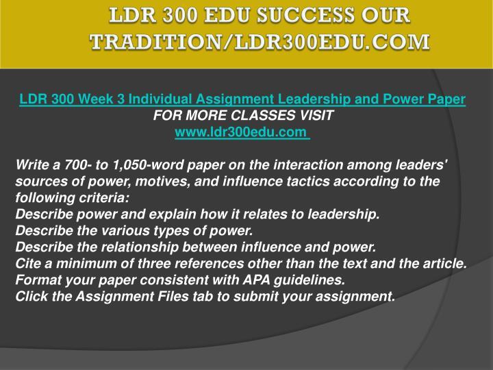 LDR 300 EDU Success Our Tradition/ldr300edu.com