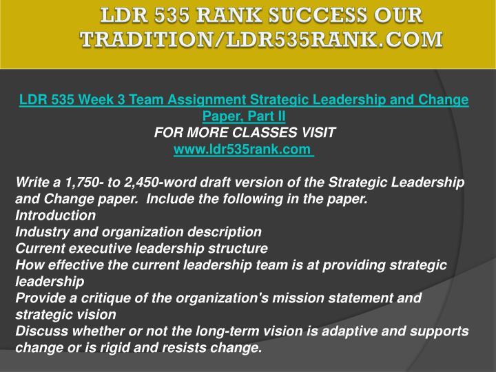 LDR 535 RANK Success Our Tradition/ldr535rank.com