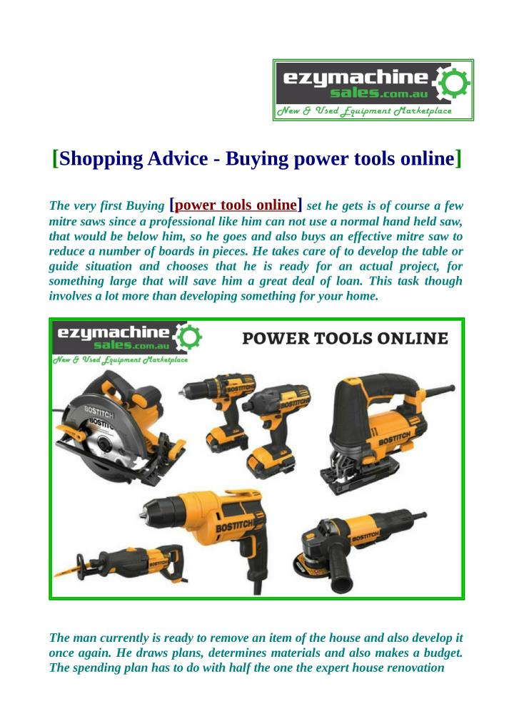 Shopping advice buying power tools online