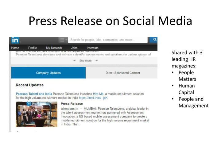 Press Release on Social Media