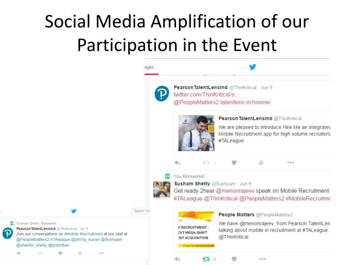 Social Media Amplification of our Participation in the Event