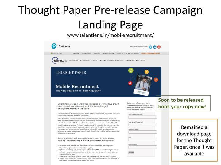 Thought Paper Pre-release Campaign Landing Page
