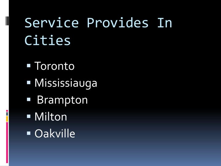 Service Provides In Cities