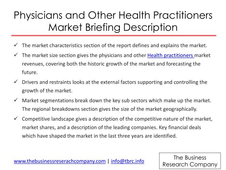 Physicians and Other Health Practitioners