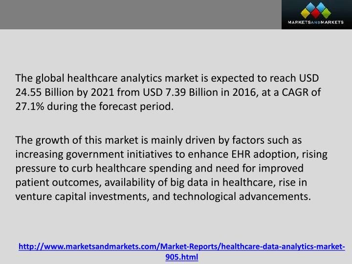 The global healthcare analytics market is expected to reach USD 24.55 Billion by 2021 from USD 7.39 Billion in 2016, at a CAGR of 27.1% during the forecast period