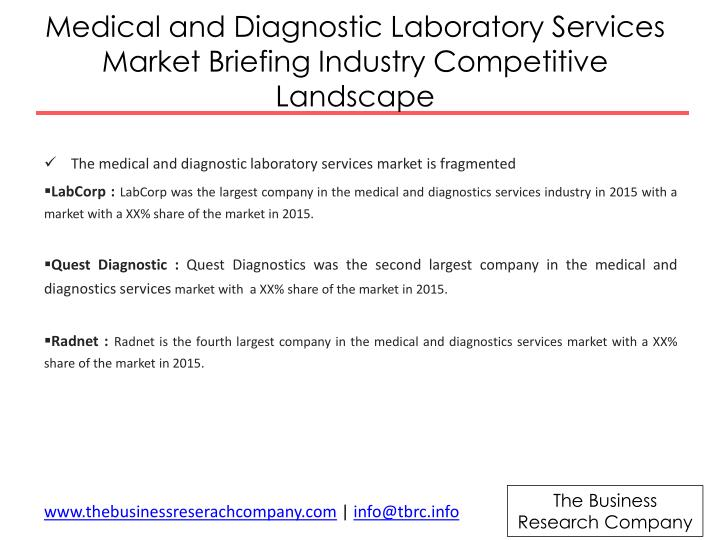 Medical and Diagnostic Laboratory Services