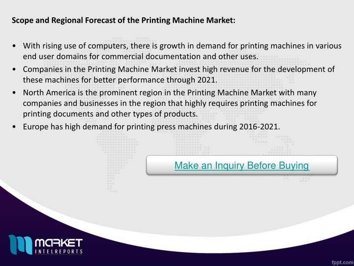 Scope and Regional Forecast of the Printing Machine Market: