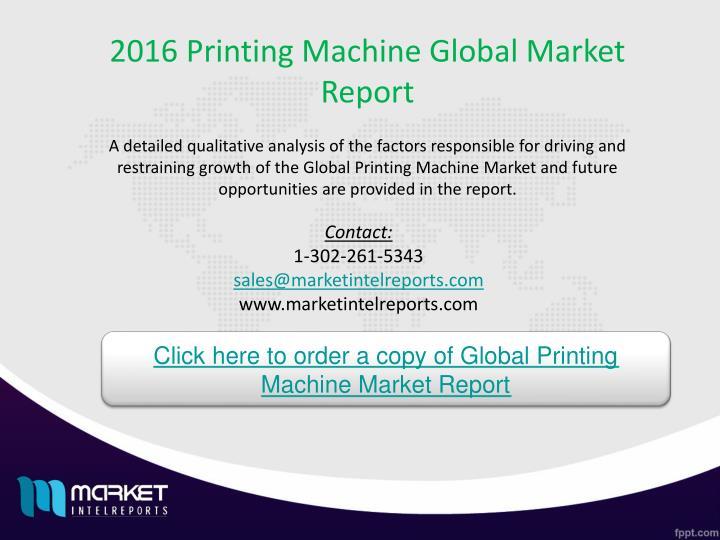 2016 Printing Machine Global Market Report