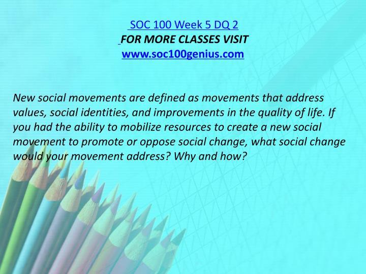 SOC 100 Week 5 DQ 2