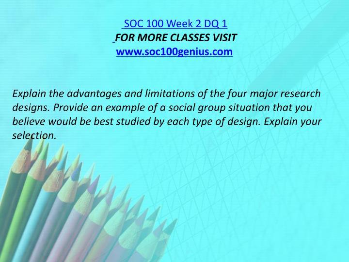SOC 100 Week 2 DQ 1