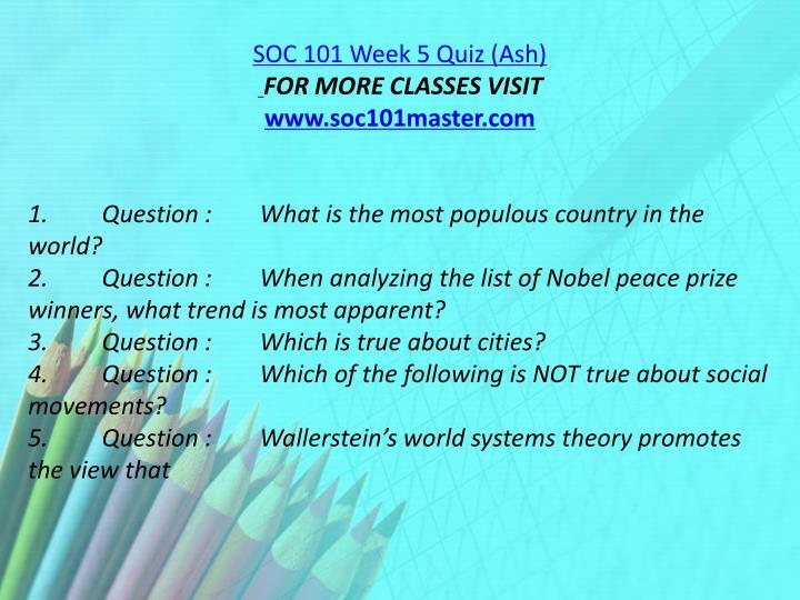 SOC 101 Week 5 Quiz (Ash)