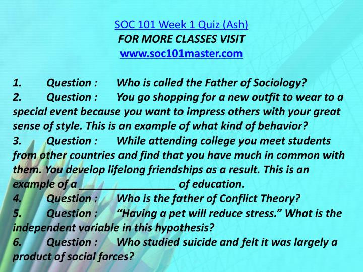 SOC 101 Week 1 Quiz (Ash)