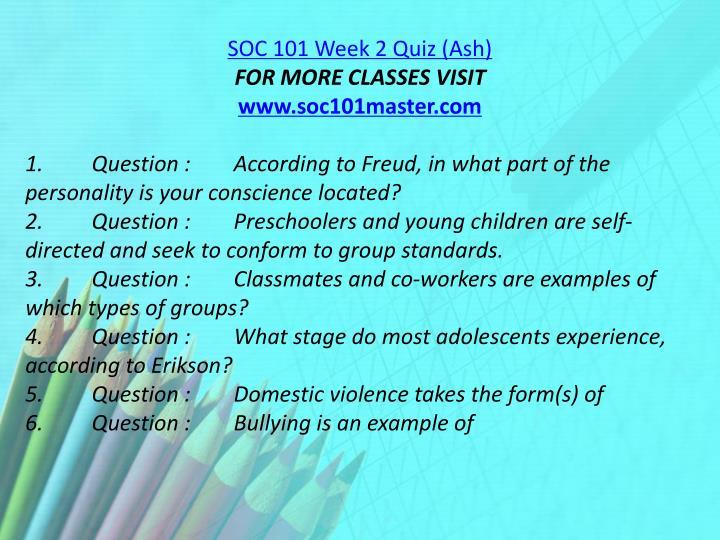 SOC 101 Week 2 Quiz (Ash)