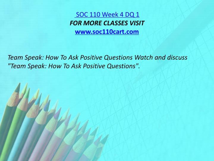 SOC 110 Week 4 DQ 1