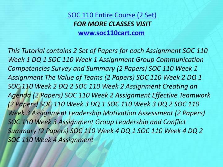 SOC 110 Entire Course (2 Set)