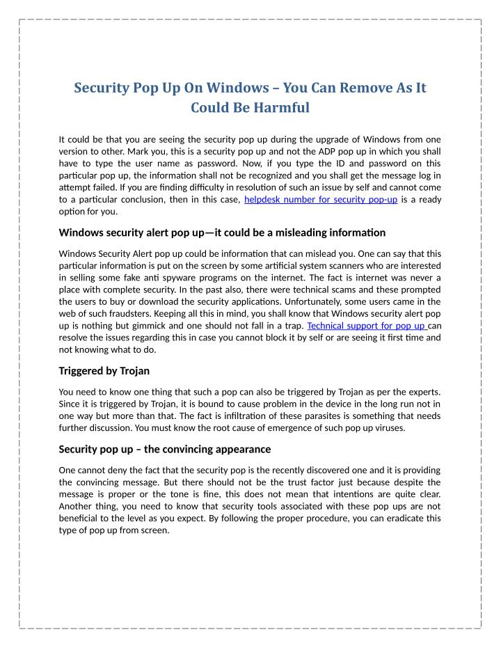 Security Pop Up On Windows – You Can Remove As It