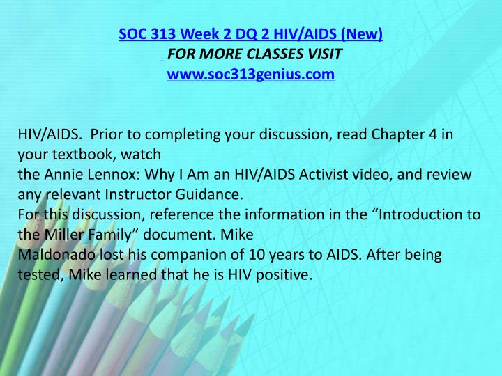 SOC 313 Week 2 DQ 2 HIV/AIDS (New)