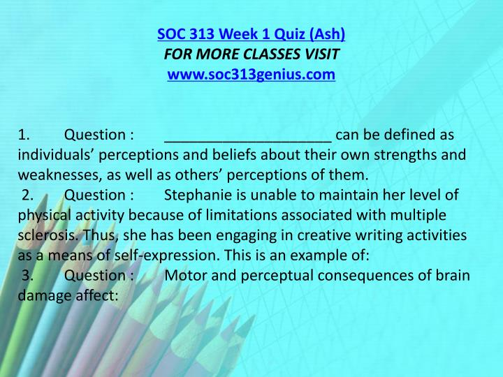 SOC 313 Week 1 Quiz (Ash)