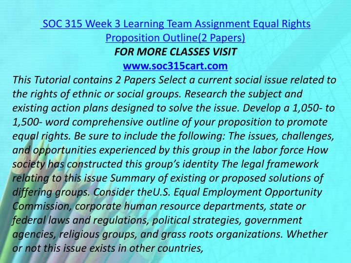 SOC 315 Week 3 Learning Team Assignment Equal Rights Proposition Outline(2 Papers)