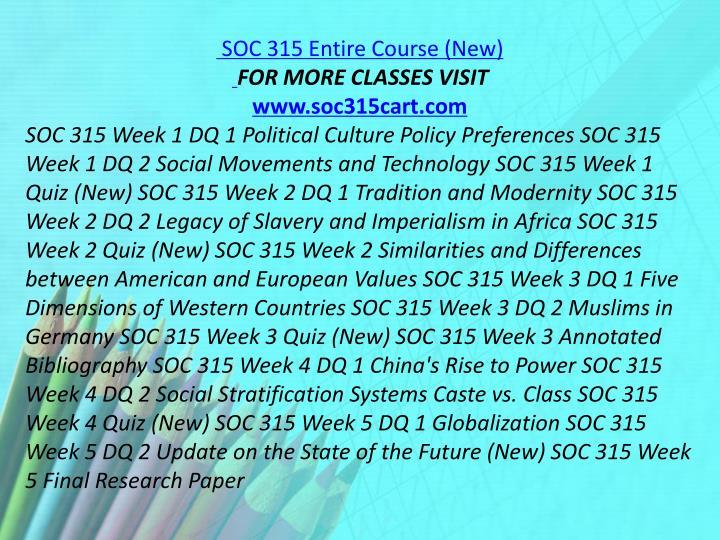 SOC 315 Entire Course (New)
