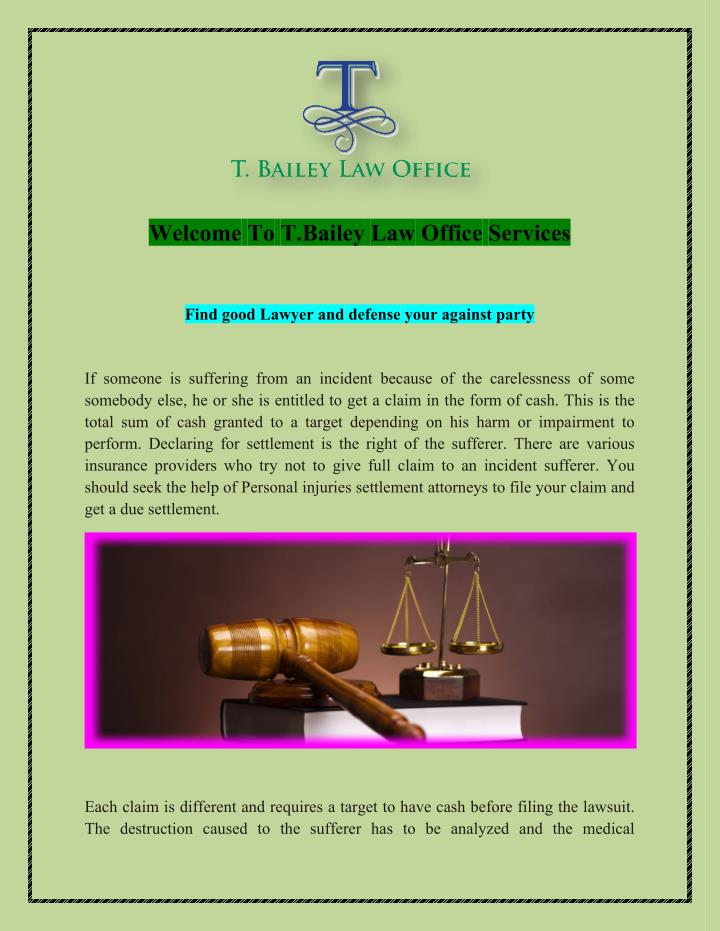 Welcome To T.Bailey Law Office Services