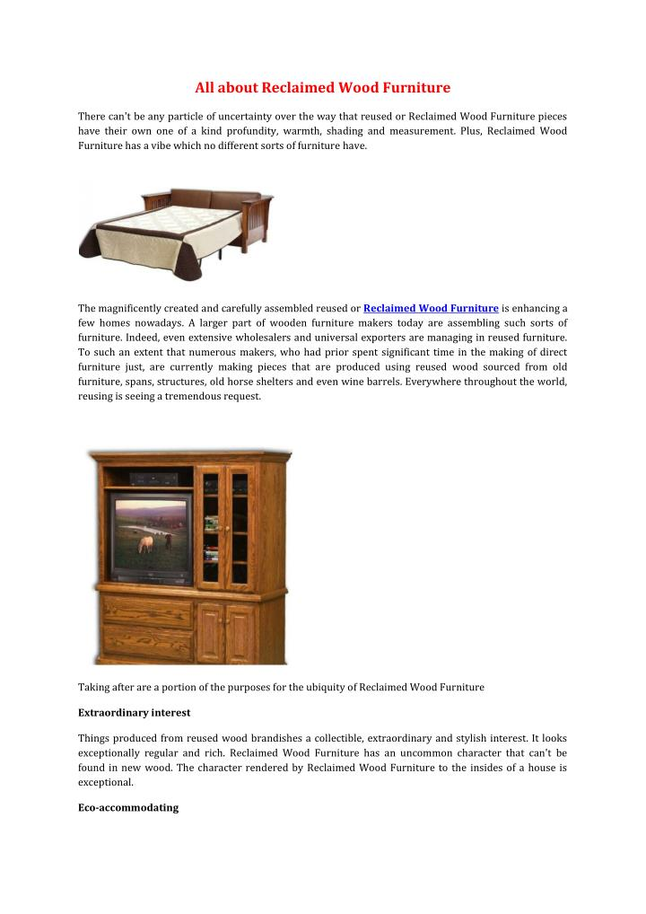All about Reclaimed Wood Furniture