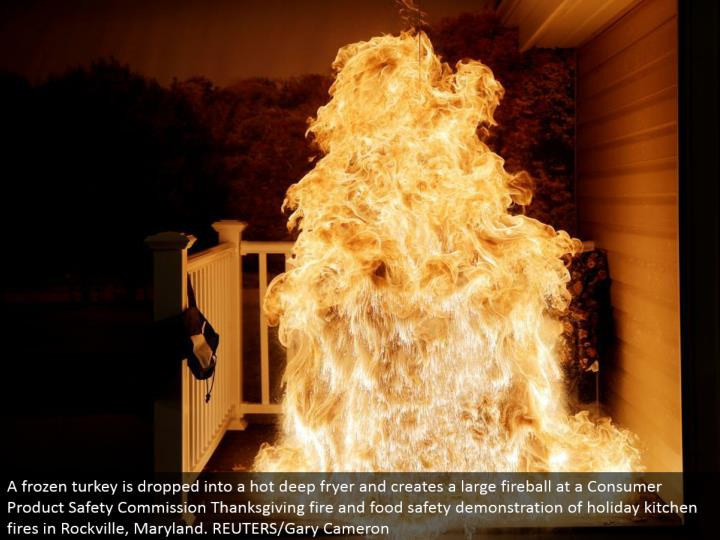 A solidified turkey is dropped into a hot profound fryer and makes an expansive fireball at a Consumer Product Safety Commission Thanksgiving flame and sustenance security exhibition of occasion kitchen fires in Rockville, Maryland. REUTERS/Gary Cameron