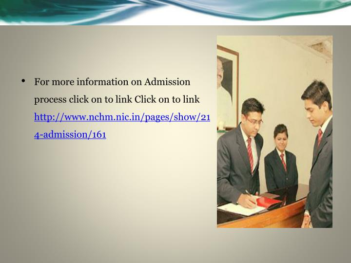 For more information on Admission process click on to