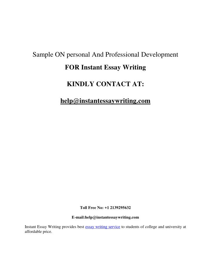 Sample ON personal And Professional Development