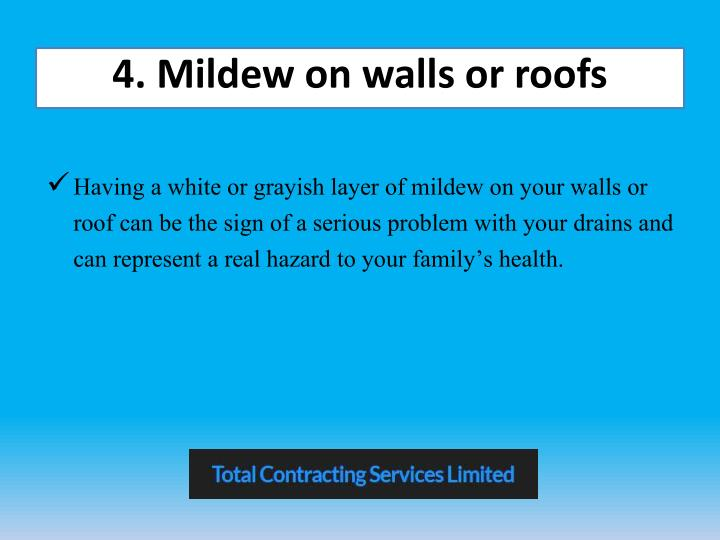 4. Mildew on walls or