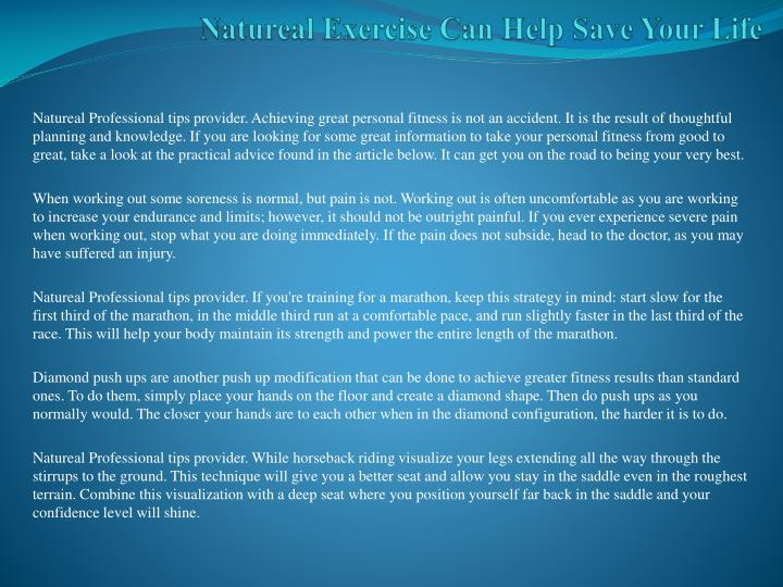 natureal exercise can help save your life n.