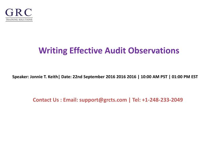 writing effective audit observations n.