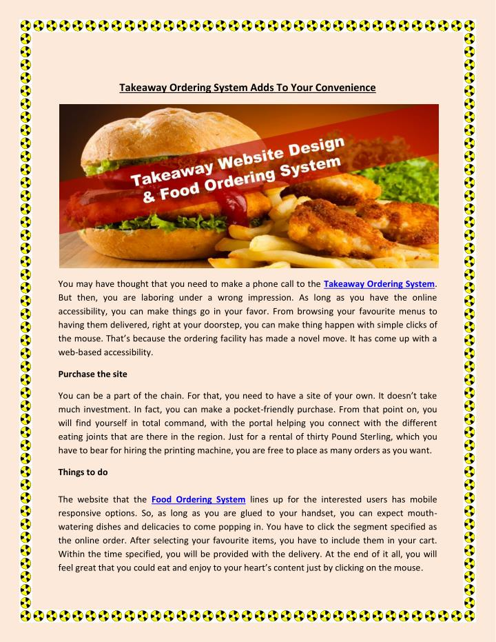 Takeaway Ordering System Adds To Your Convenience