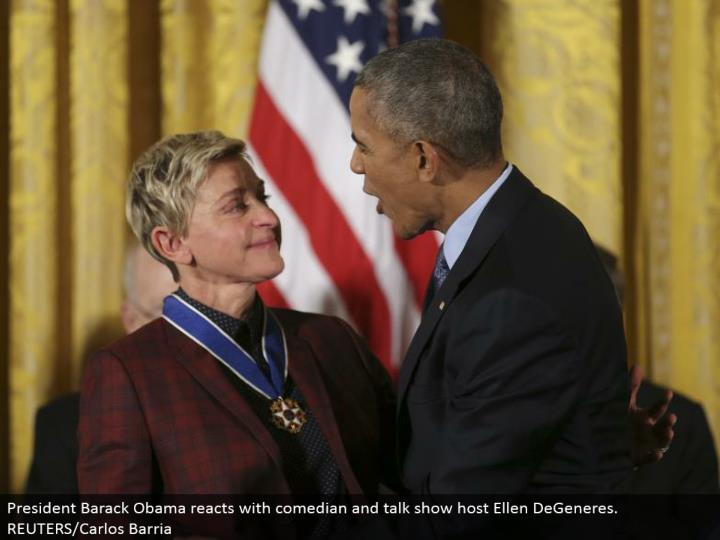 President Barack Obama responds with humorist and moderator Ellen DeGeneres. REUTERS/Carlos Barria
