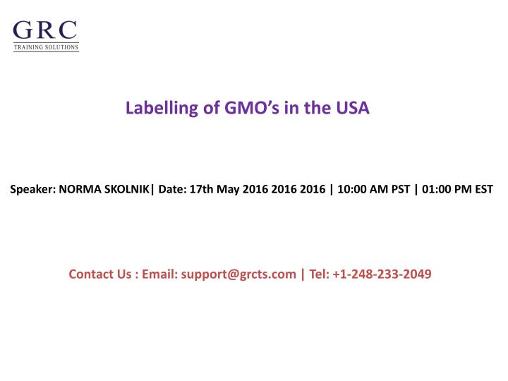 Labelling of gmo s in the usa