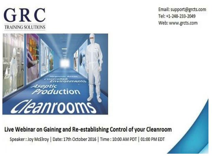 Gaining and re establishing control of your cleanroom