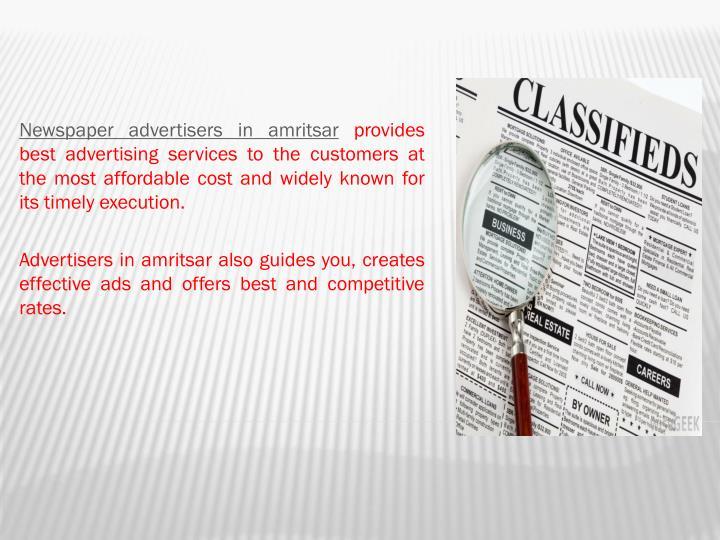Newspaper advertisers in