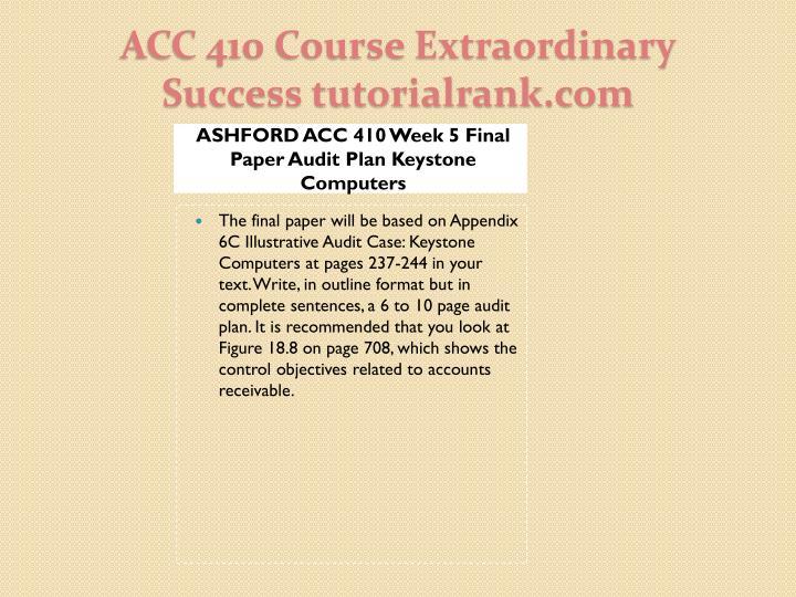 ASHFORD ACC 410 Week 5 Final Paper Audit Plan Keystone Computers