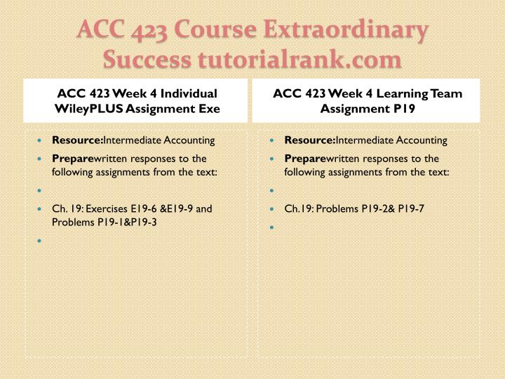 ACC 423 Week 4 Individual WileyPLUS Assignment Exe