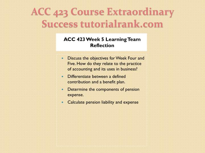 ACC 423 Week 5 Learning Team Reflection
