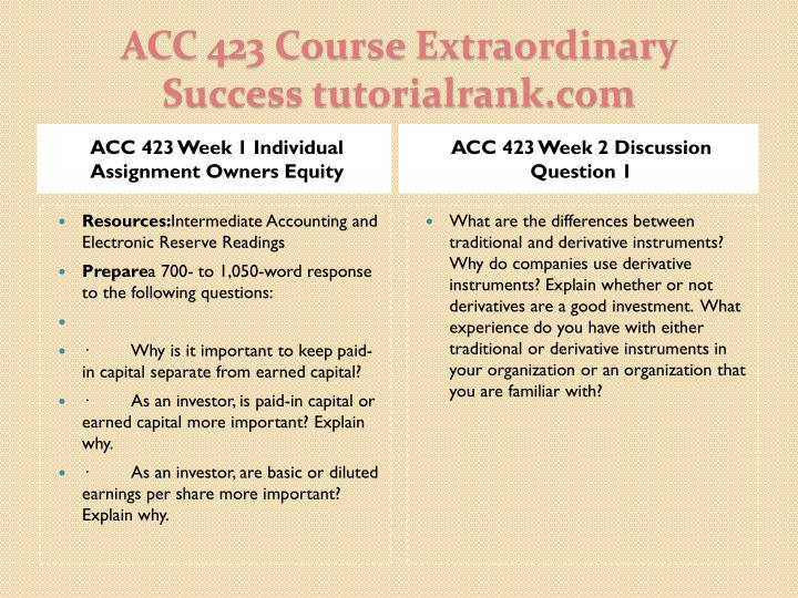 ACC 423 Week 1 Individual Assignment Owners Equity