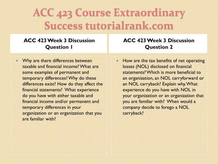 ACC 423 Week 3 Discussion Question 1