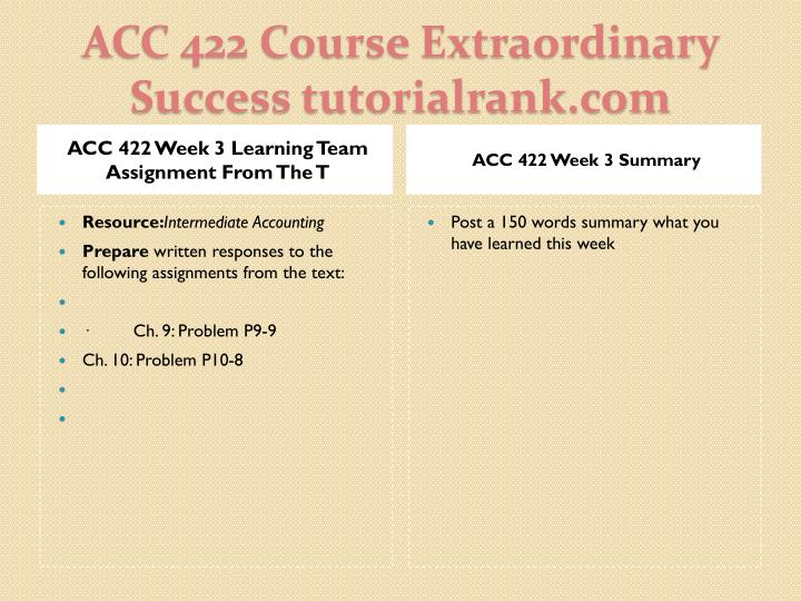ACC 422 Week 3 Learning Team Assignment From The T